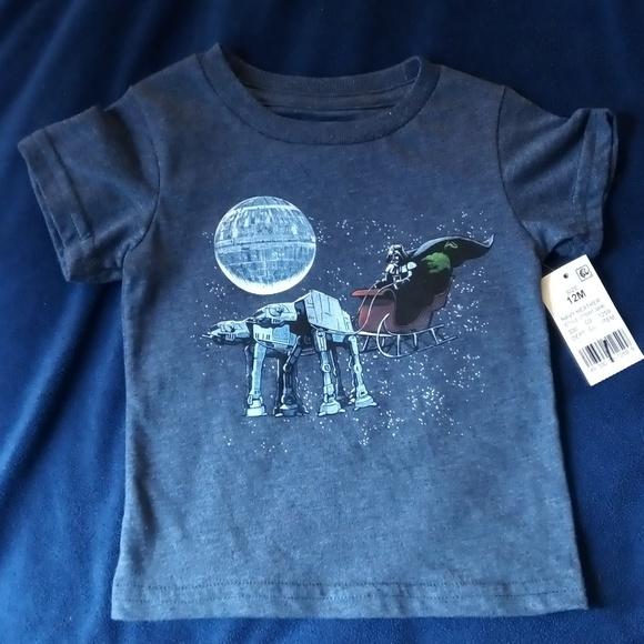 New NWT Toddler Boys Star Wars T Shirt Size 3T 3 T Christmas Darth At-At Blue